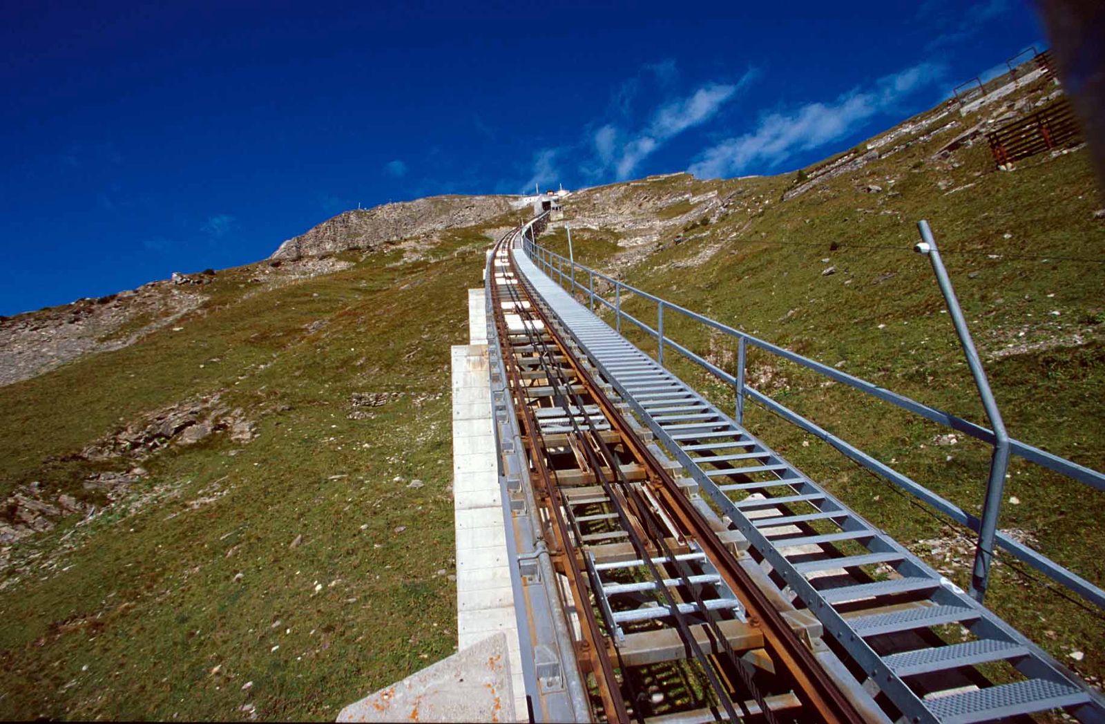 Niesenbahn funicular stairway
