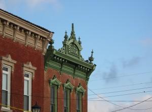 Facade of old bank building