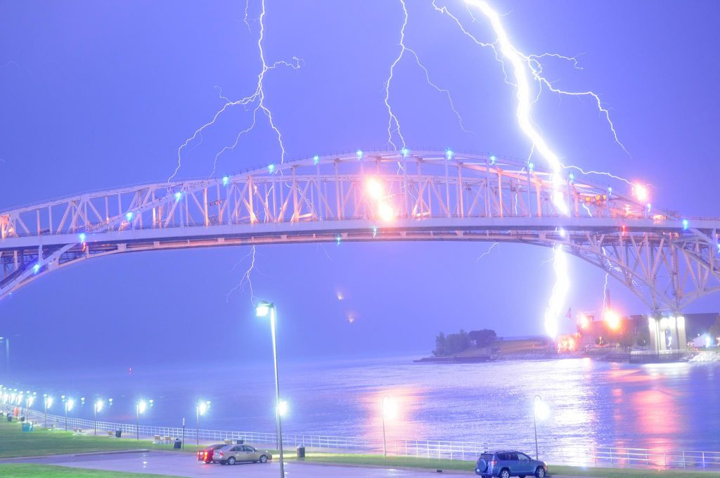 lightning blue water bridge