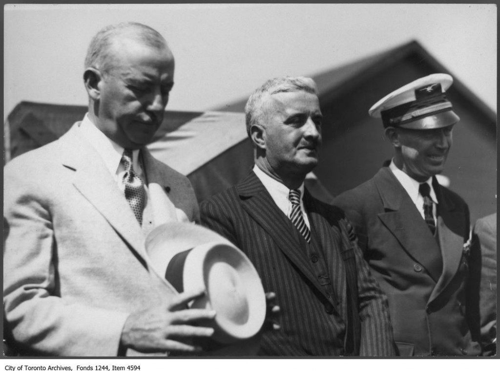 O'Ryan, Harbour Commissioner Thomas Jenkins, and pilot-owner O'Connor at opening of Toronto Island Airport. - 1939