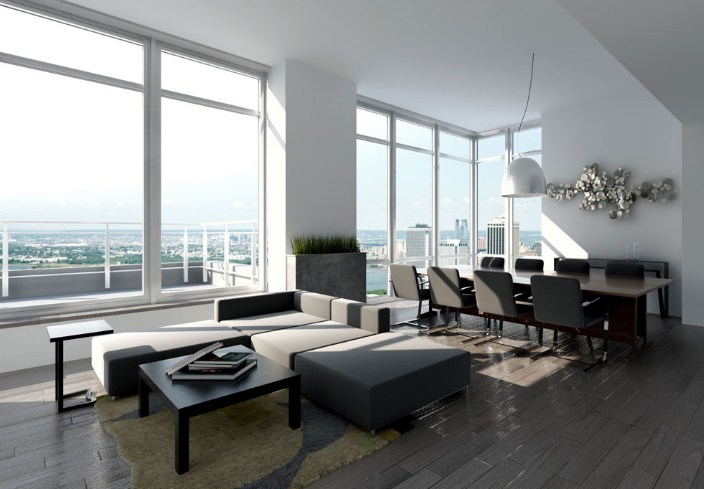 388 Bridge Street living room penthouse DBOX