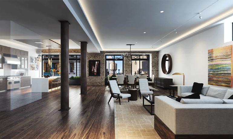 66 East 11th loft living room