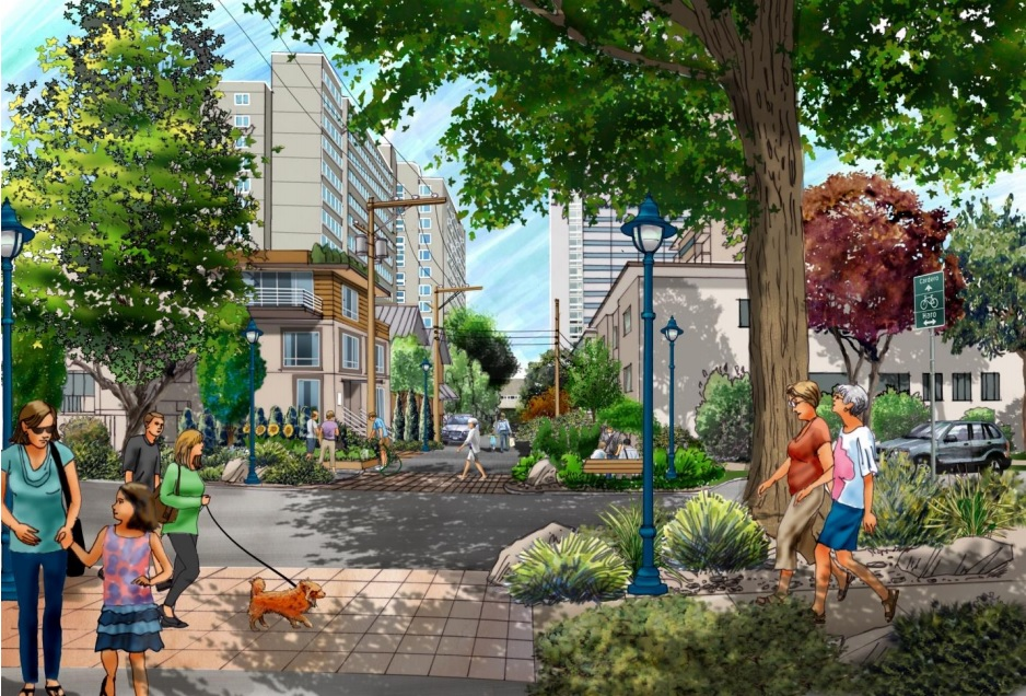 Rendering of 'enhanced' laneway between Barclay and Haro Streets at Cardero Street, showing infill rental housing and new public space.