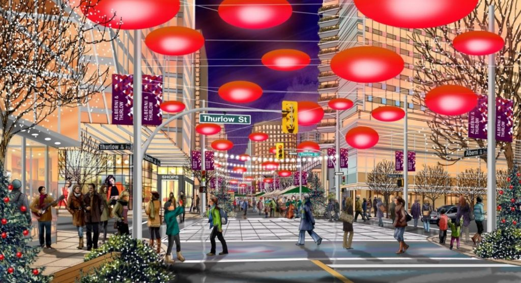 Rendering of public space at Alberni and Thurlow Streets, showing potential temporary street closure and winter holiday market.