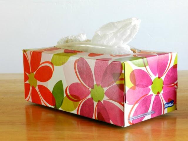 tissue box plastic bag storage