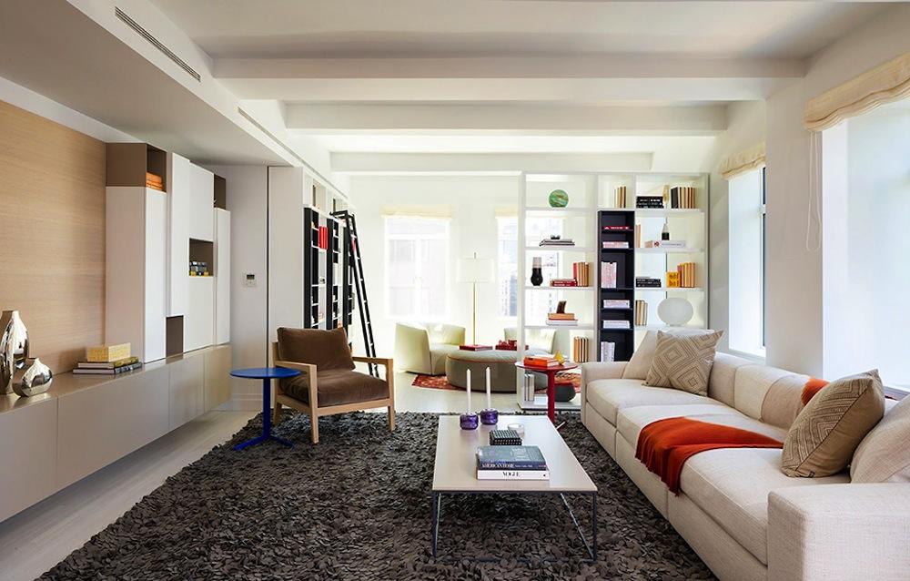 737 Park Avenue living room blue