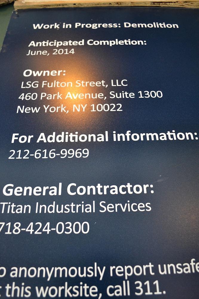 114 Fulton construction signage