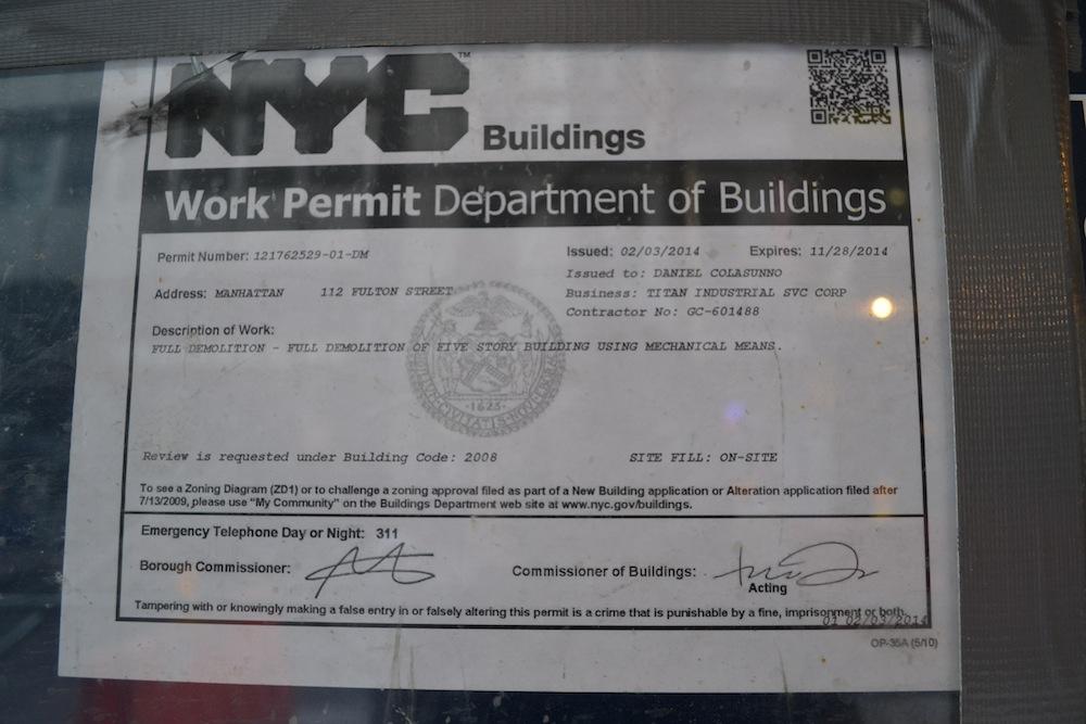114 Fulton demo permit