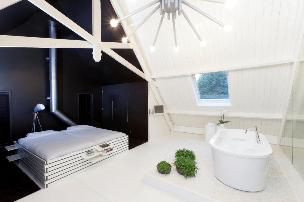 bathroom and bedroom attic
