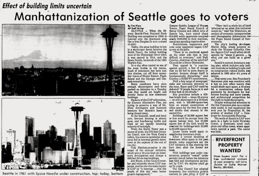 Manhattanization Seattle