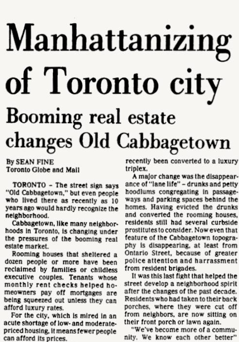 Manhattanization Toronto Cabbagetown