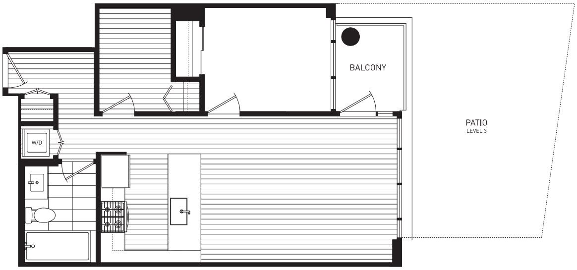harmony one-bedroom plus den podium home