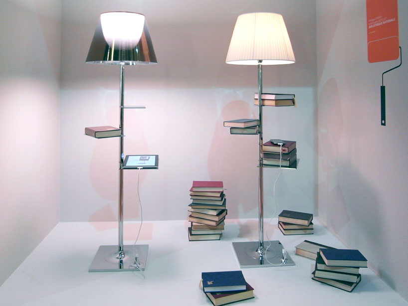 lamp book shelf mobile device charger