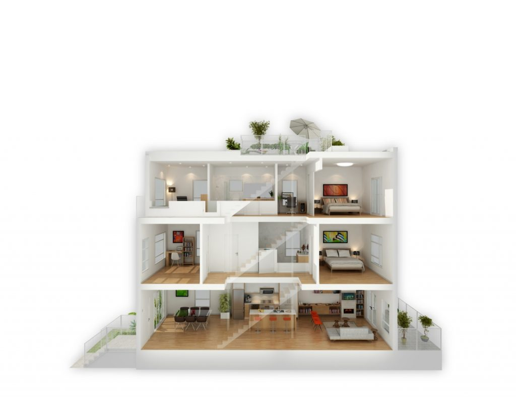 Interior Dollhouse Side Cut Rendering Open Concept Developments