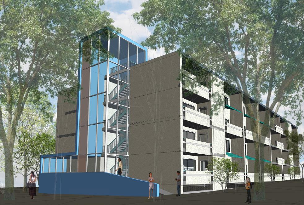 Mercy Housing Midtown Park blue rendering