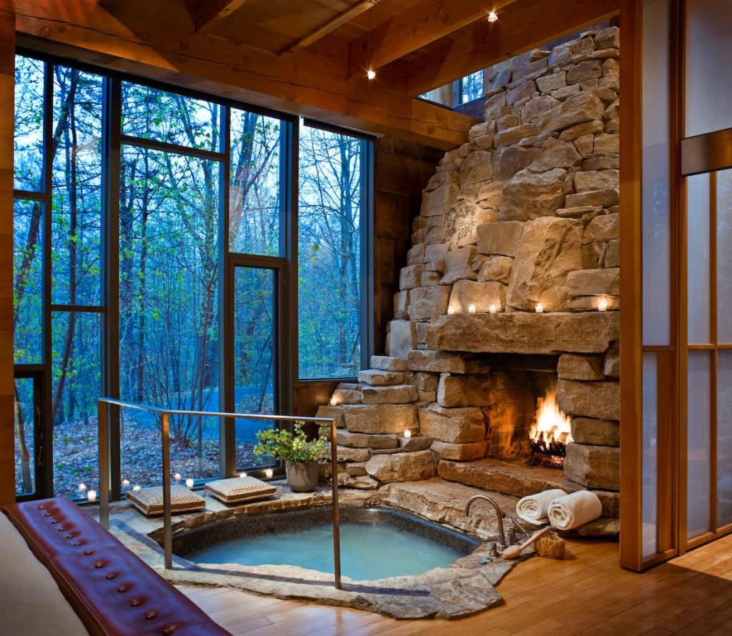 fireplace hot tub
