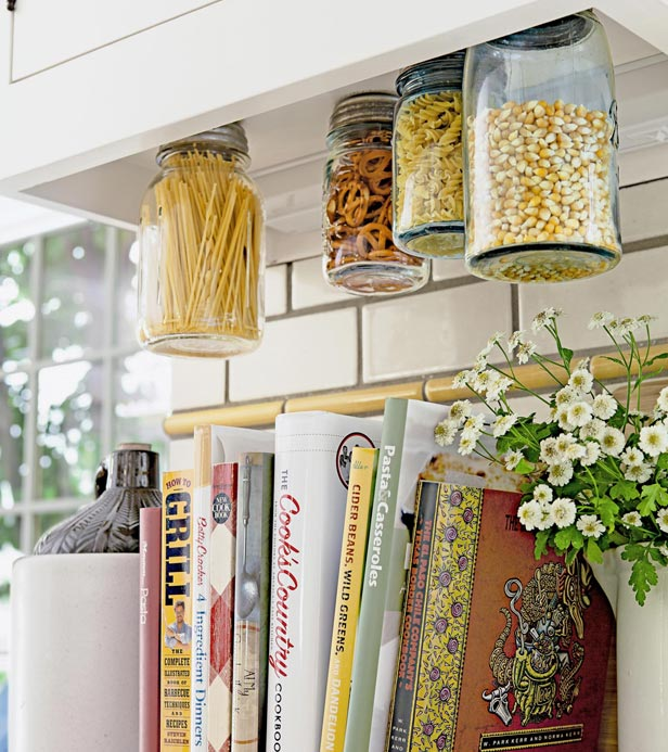 mason jar storage kitchen