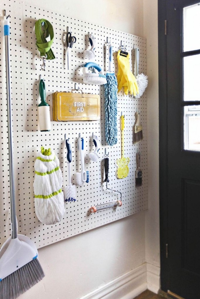 pegboard cleaning supplies
