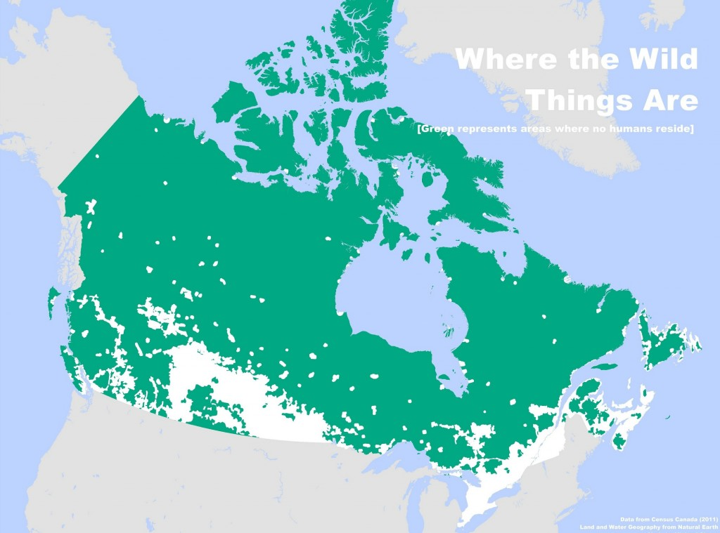where people don't live in Canada