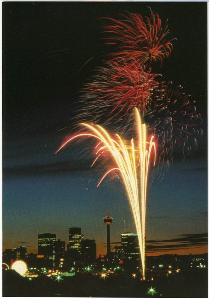 Calgary fireworks historic postcard