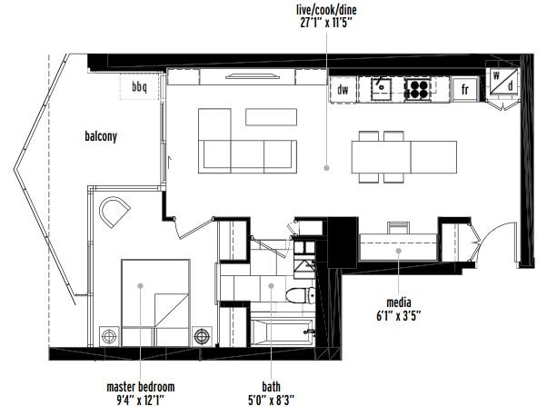 Verve Calgary condo one-bedroom