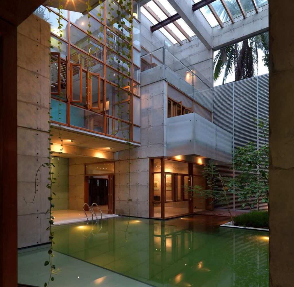 Vine house with indoor pool