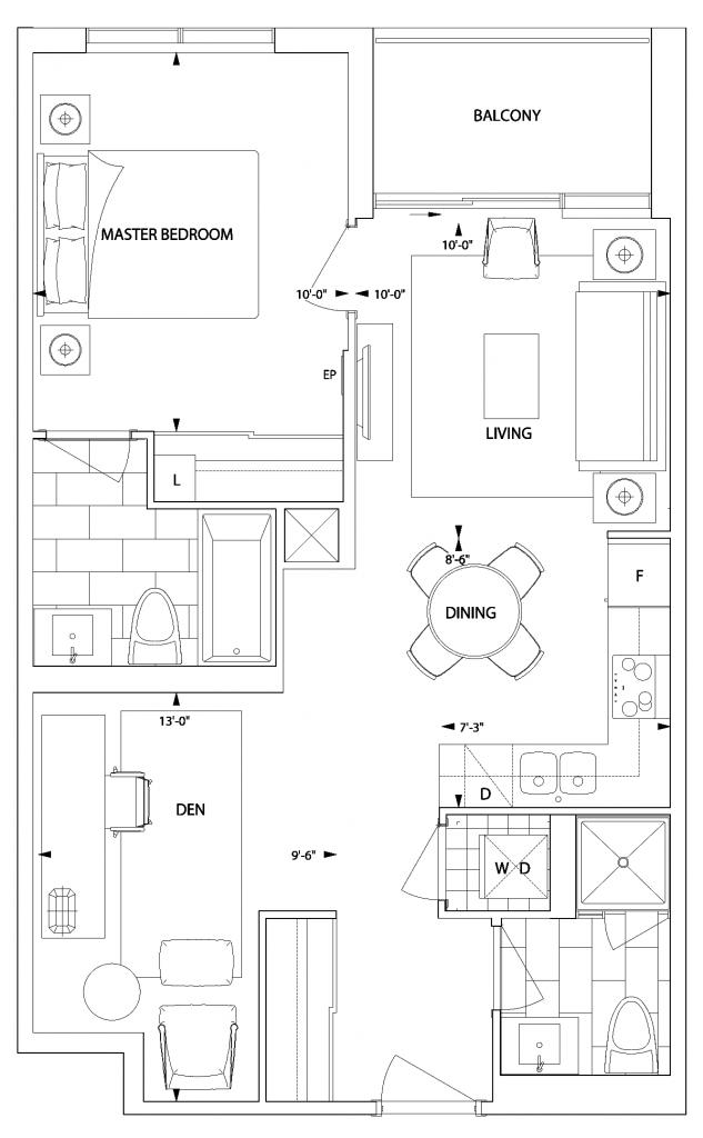 avani 1 br + den floorplan