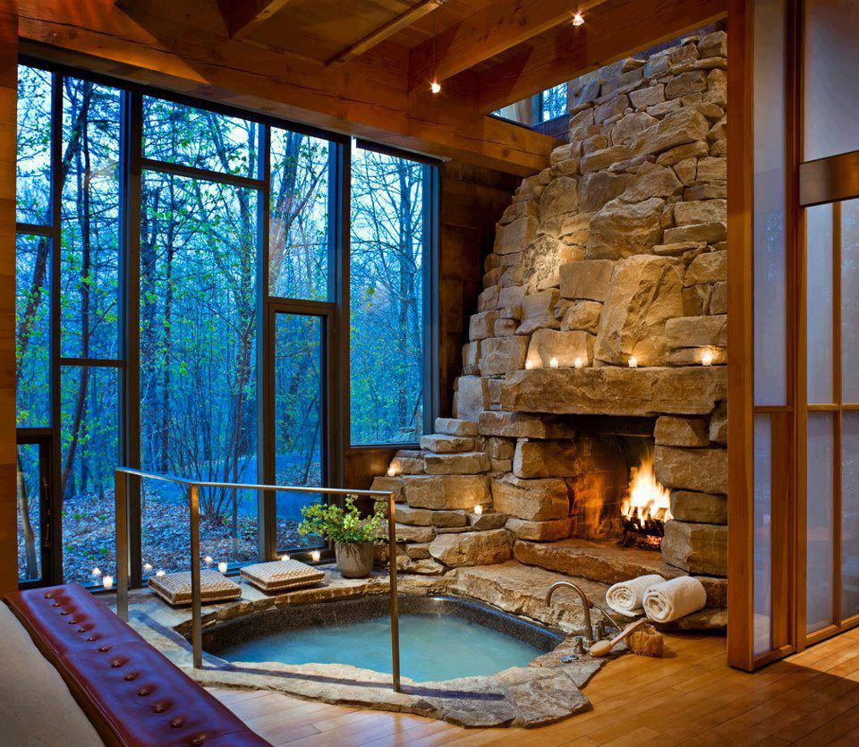 fireplace and hot tub - dream home