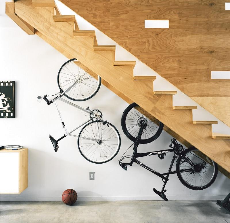 bike rack under stairs