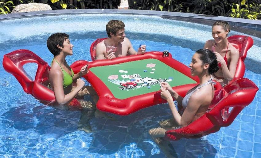 floating poker table backyard
