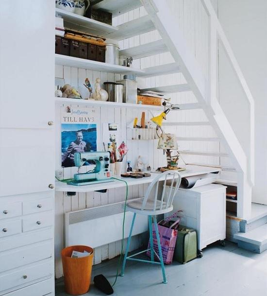 workspace under stairs