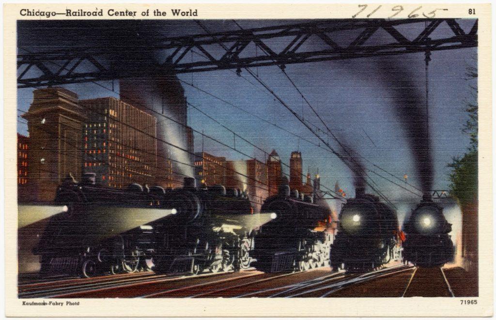 chicago postcard railroads