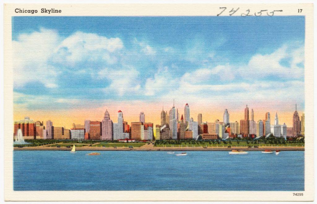 chicago skyline vintage postcard