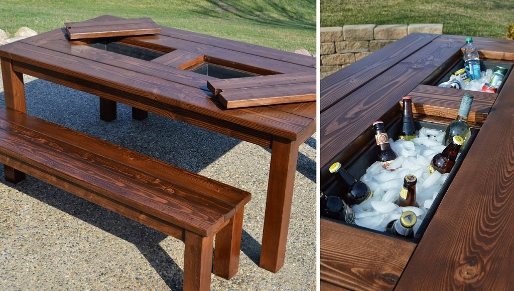 picnic table cooler
