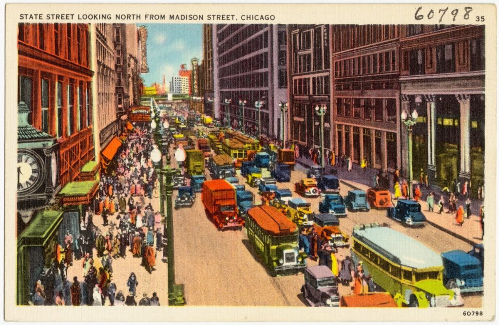 state street chicago postcard