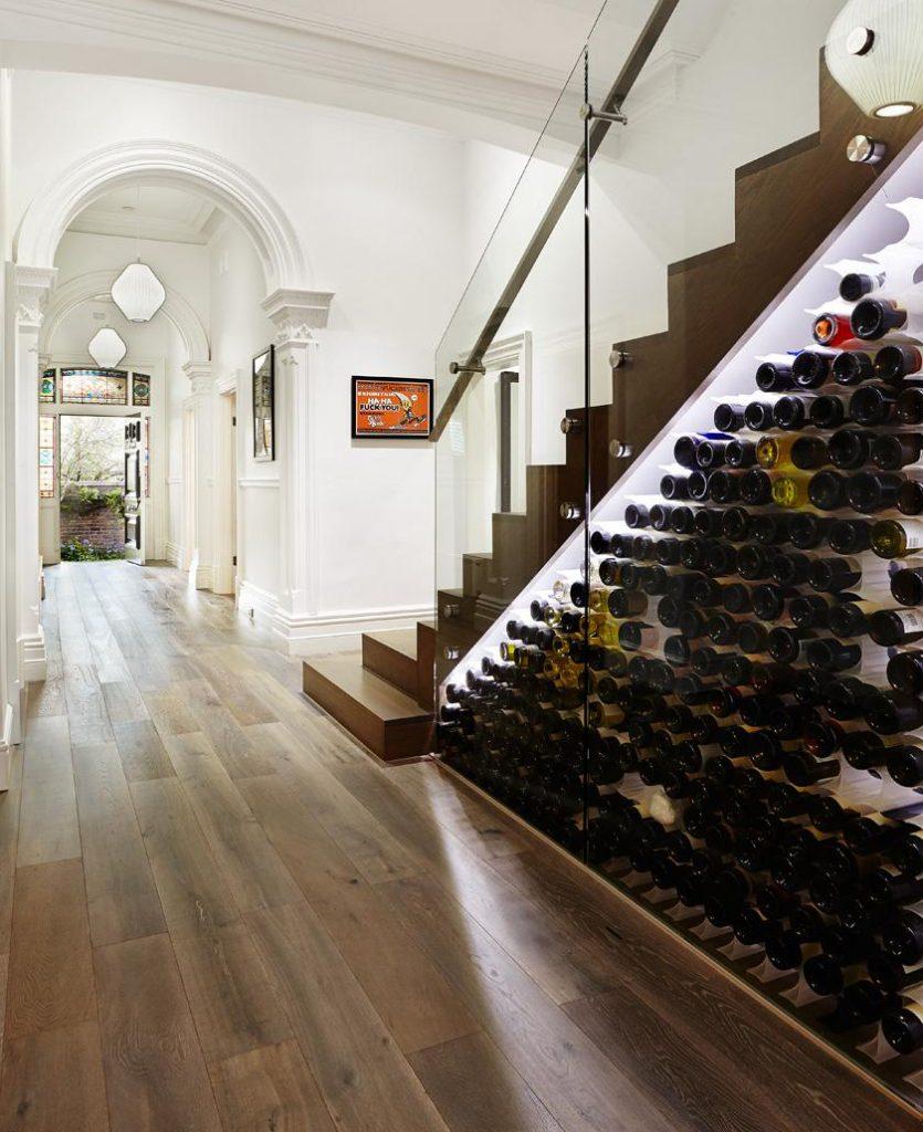 wine rack under stairs
