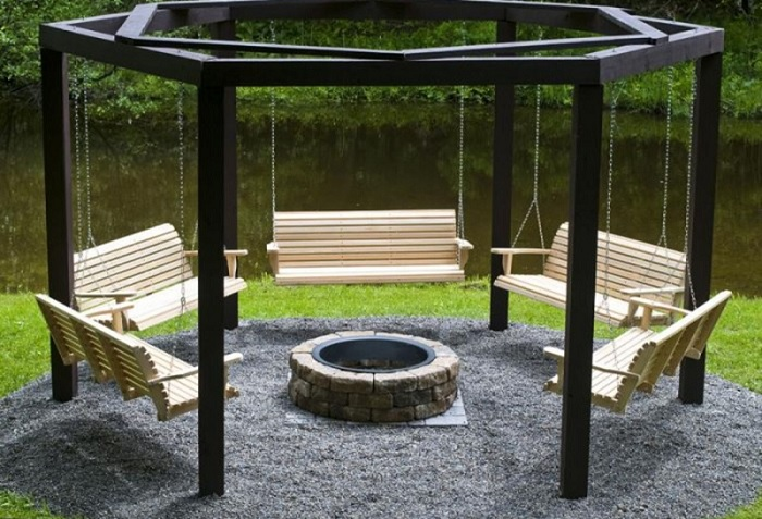 fire pit with swing seating