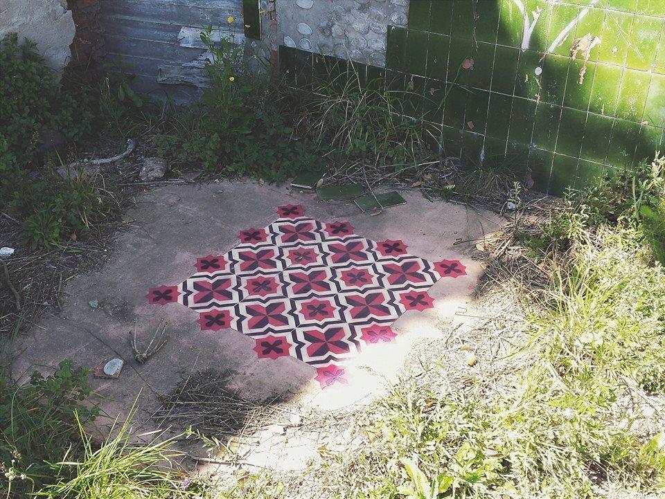 red pattern floors