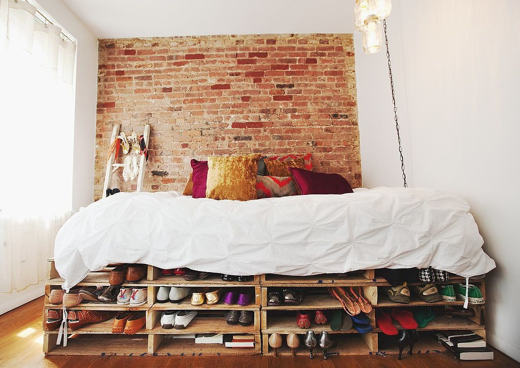 tiny apartment bed storage