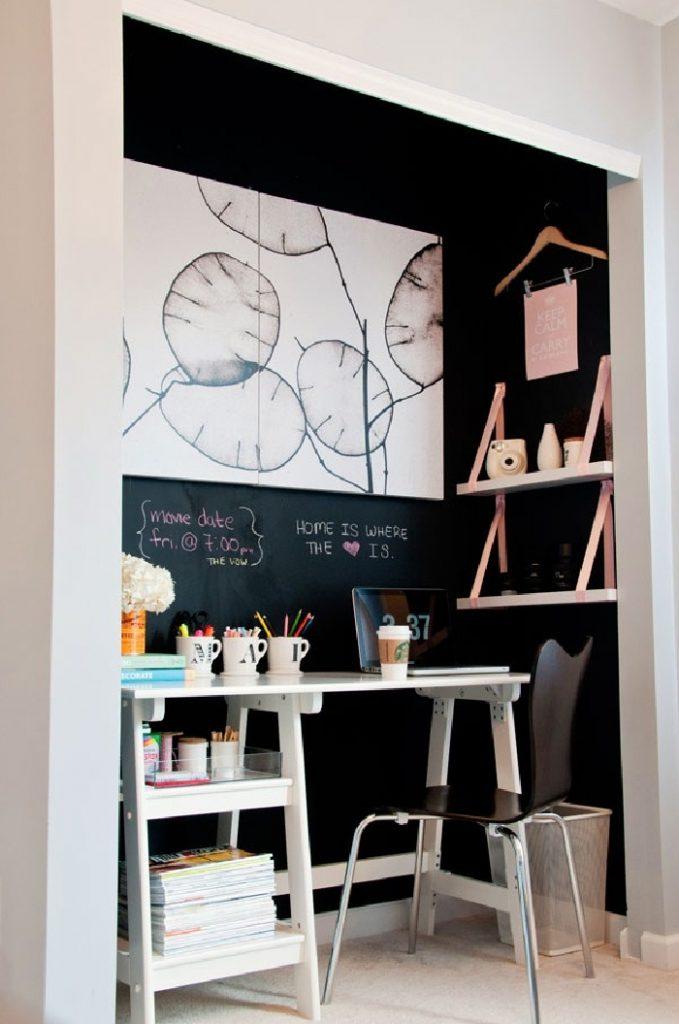 tiny apartment closet office