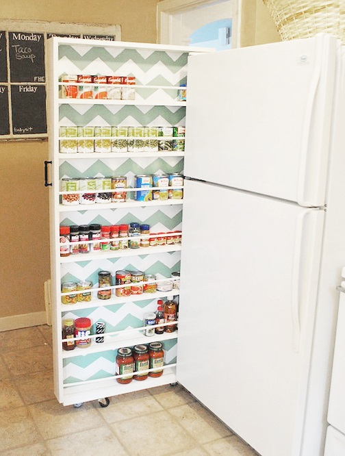 tiny apartment sliding pantry