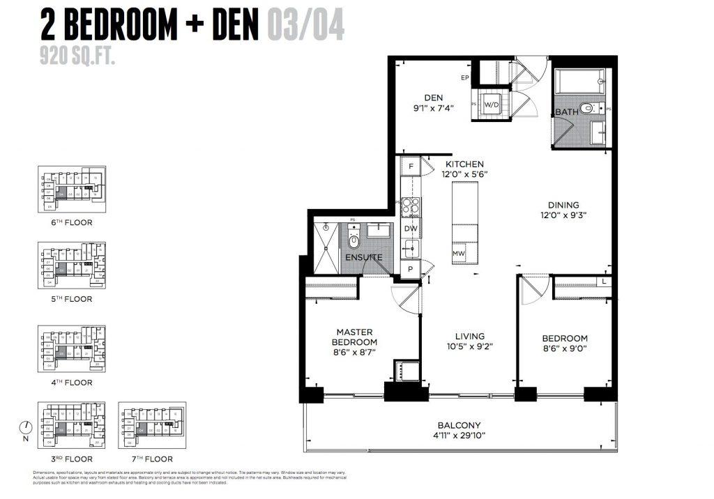 2BR + den floorplan