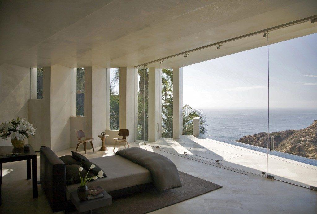 concrete oceanfront bedroom