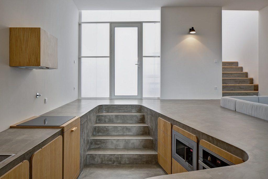 concrete sunken kitchen