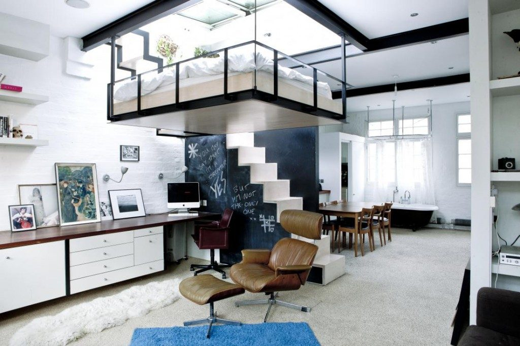 home office with a suspended bed