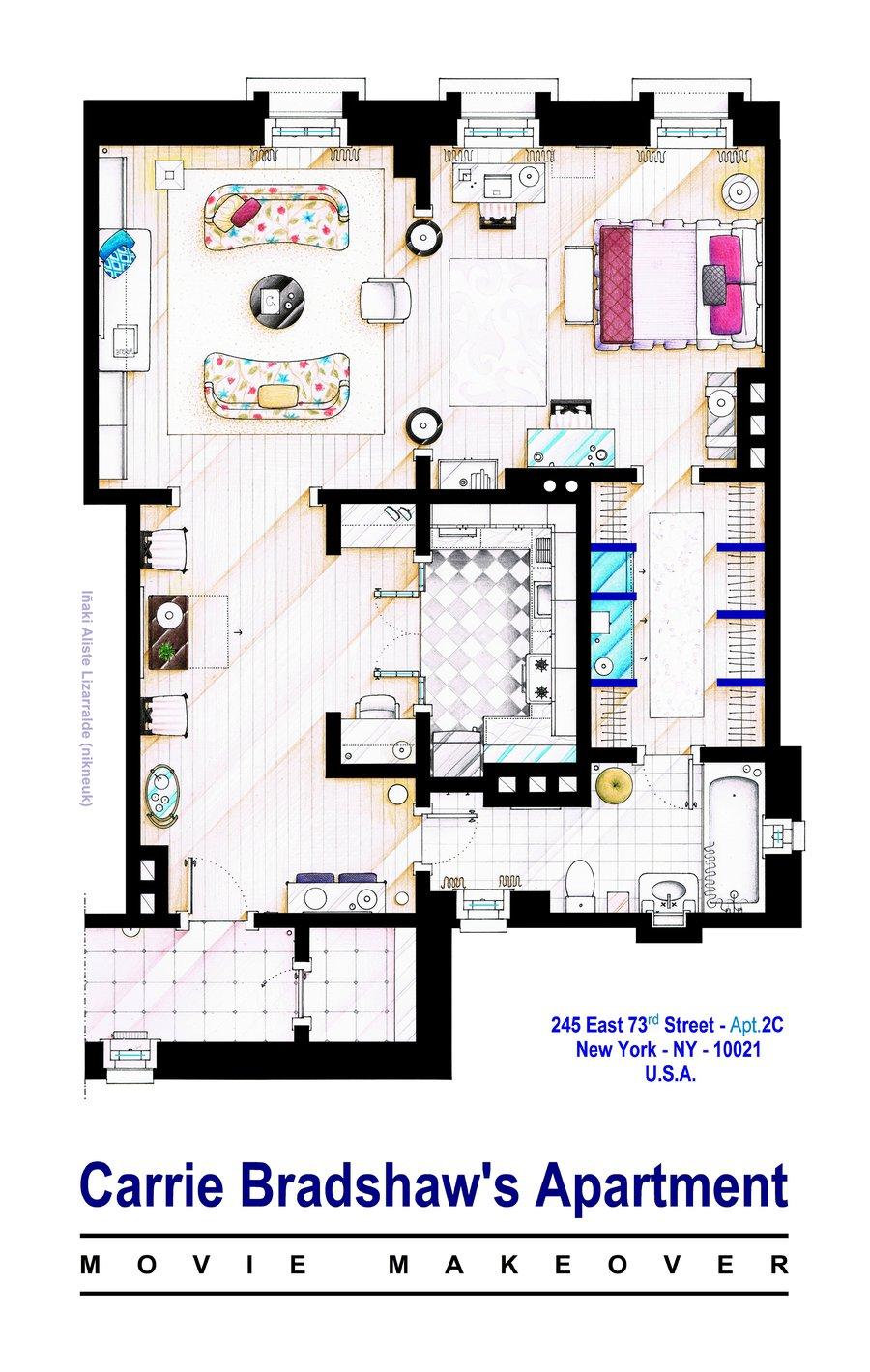 carry bradshaw apartment floorplan