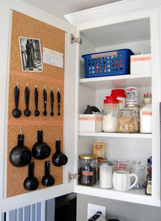 corkboard cabinet kitchen hack