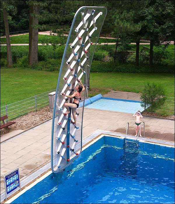 pool climbing wall
