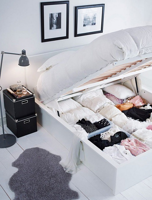 storage bed tiny bedroom hack