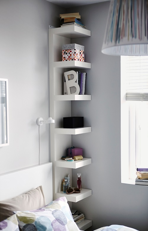 vertical shelving tiny bedroom hack